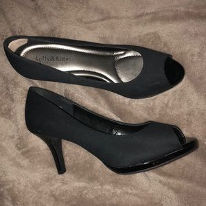 Gently used black linen peep toe heels
